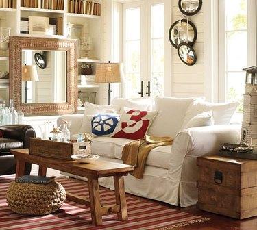 farmhouse style canvas sofa slipcover