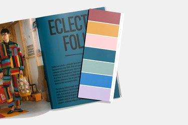 magazine page with color swatch
