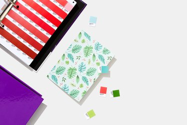 patterned card and Pantone color swatches