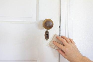 Cleaning a door