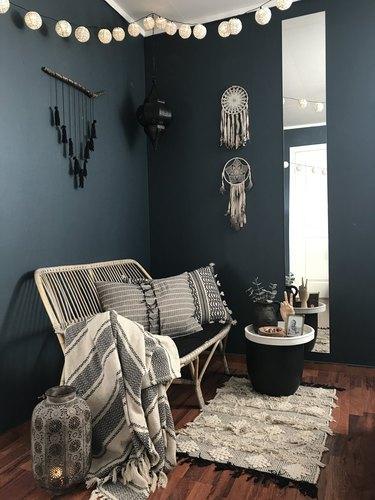 Boho blue living room with texture