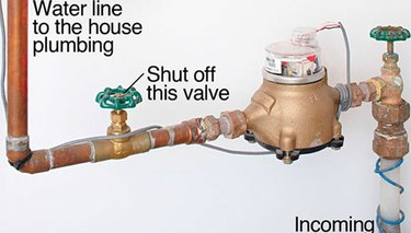 home water supply line and shutoff valve