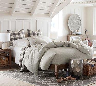 farmhouse bedding idea with Wheaton Stripe Cotton Linen Blend from Pottery Barn