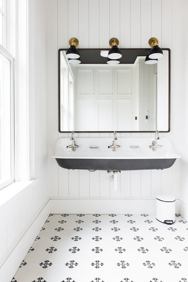 farmhouse flooring idea with tile in the bathroom