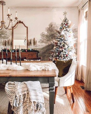 colorful farmhouse Christmas tree idea in dining room
