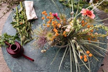 farmhouse table centerpiece idea with wild flowers