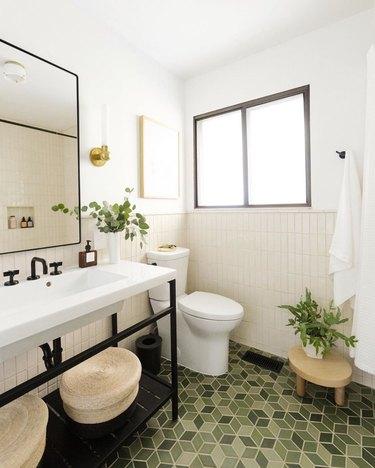 white bathroom countertop with green geometric floor tile