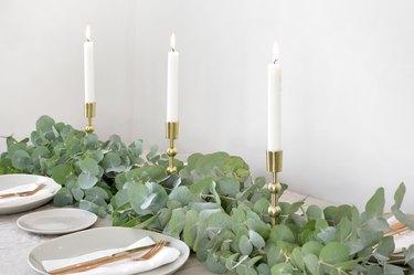 farmhouse table centerpiece idea with DIY Eucalyptus Runner by Caroline Burke