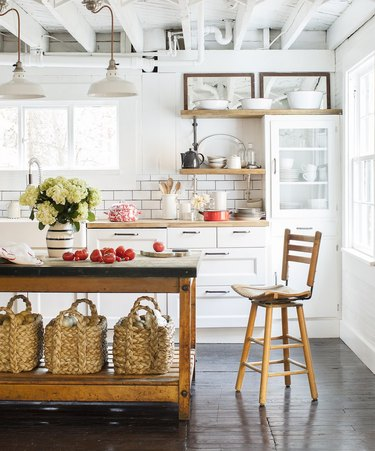 industrial kitchen with farmhouse flooring idea