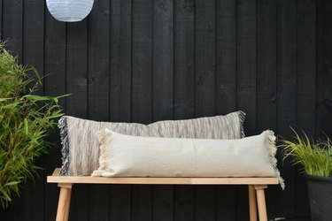Fringed pillows made from IKEA rugs