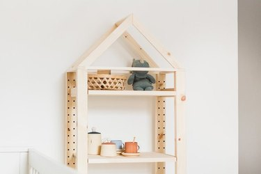 IKEA Ivar shelving unit with DIY roof on top