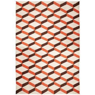 Orange Peruvian Flat Weave Rug