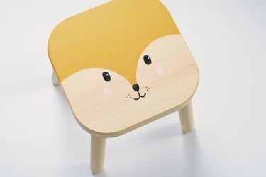 Chalk paint on an IKEA Filsat stool for kids.