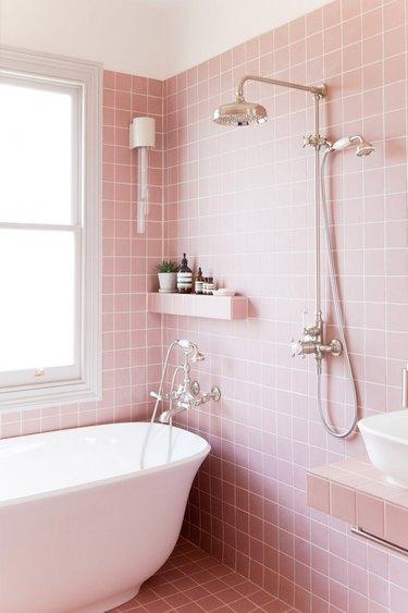 pink tiled wet room