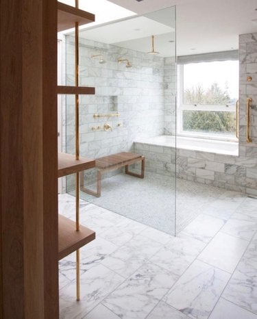 luxe marble open shower and bath
