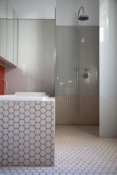 pink grout wet room with open shower