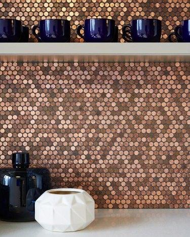 copper penny kitchen backsplash