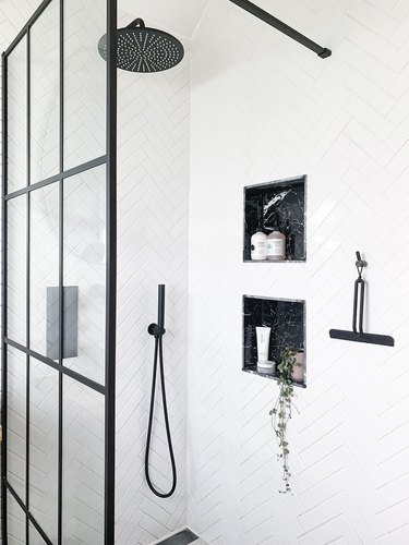 small shower idea with monochrome black and white color palete