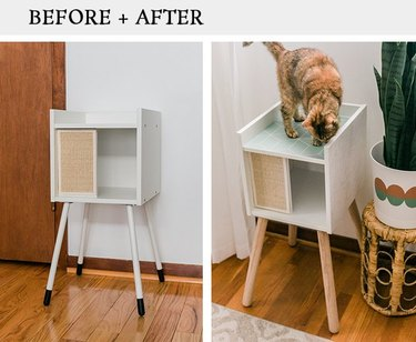 IKEA Lurvig cat house makeover using wood legs and removable wallpaper.
