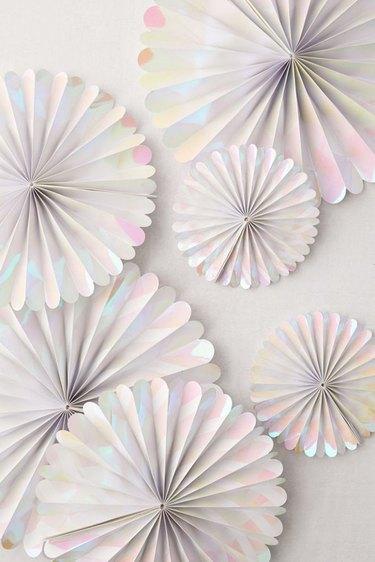 iridescent pinwheel decorations