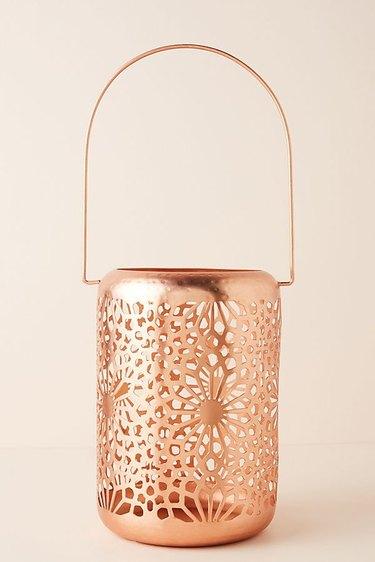 rose gold floral pattern lantern