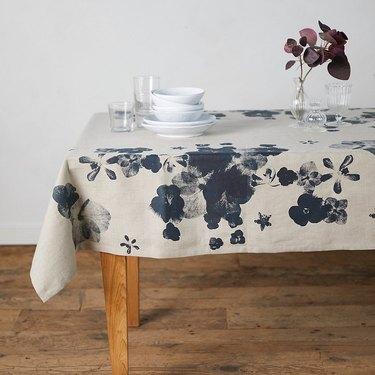 Terrain Indigo Linen Tablecloth
