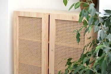 IKEA Ivar cabinet upgrade using cane webbing.