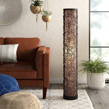 rattan boho floor lamp