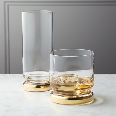clear and gold glasses