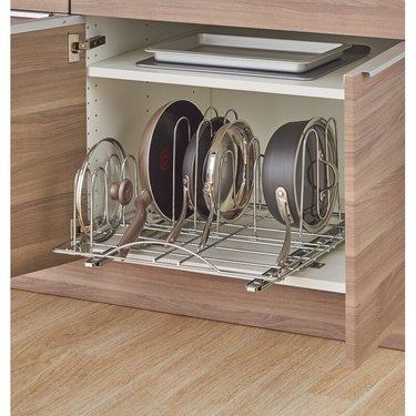 sliding drawer organizer for pots and pans