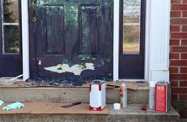 Preparing door for painting.
