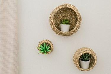 Turn IKEA baskets into plant holders!
