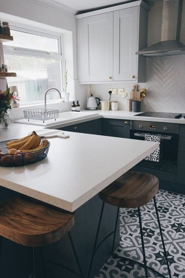 two-tone gray kitchen cabinets