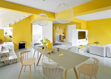 yellow open concept living room