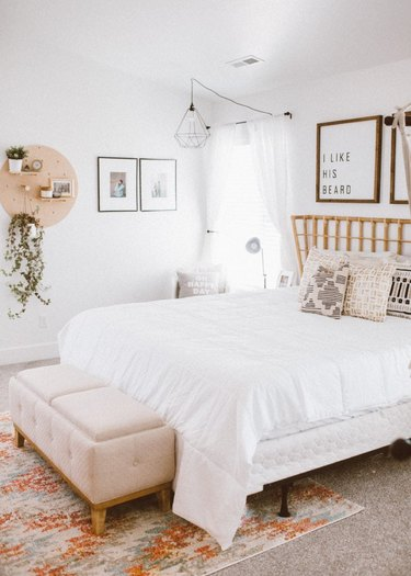 modern chic bedroom with bohemian flair