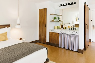 hotel room with cork floors