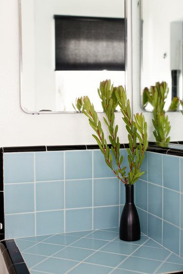 Blue bathroom backsplash idea with black accents and plant in vase