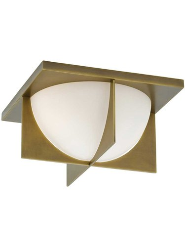 Art deco lighting with circular shade and brass details