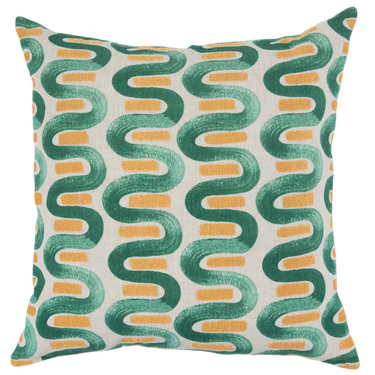 green and yellow swirl patterned pillow Hollywood Regency accessory from Chairish
