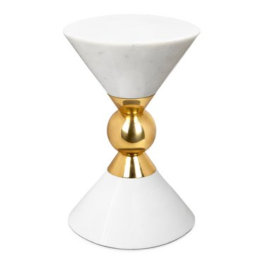 white marble and brass side table Hollywood Regency accessory from Jonathan Adler