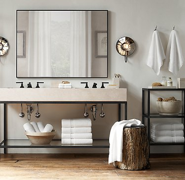 aged steel and quartz open bathroom vanity