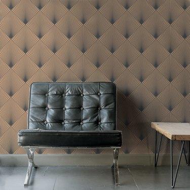 linear tan art deco wallpaper