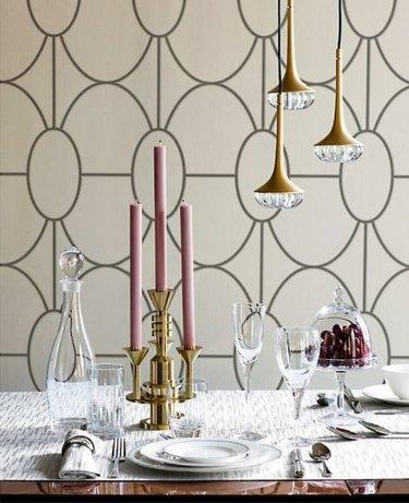 white linear art deco wallpaper