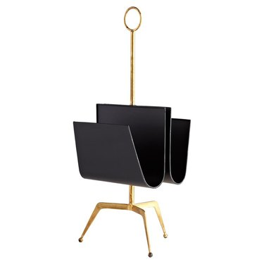 black iron and brass magazine stand Hollywood Regency accessory from Kathy Kuo Home