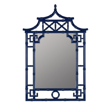 blue bamboo framed mirror Hollywood Regency accessory from Mintwood Home