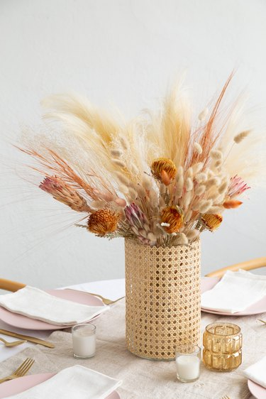 DIY Cane wrapped vase with wedding grass and dried floral arrangement