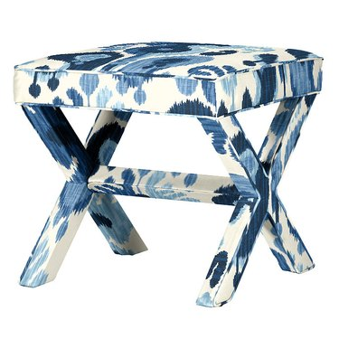 blue and white x-bench Hollywood Regency accessory from Ballard Design
