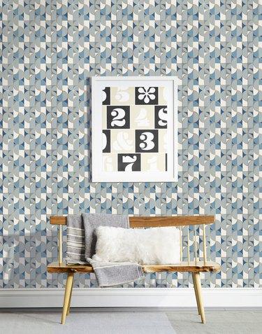 blue art deco wallpaper with metallic gold detail