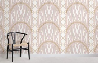 Pink Art Deco Wallpaper Mural inspired by the Chrysler Building
