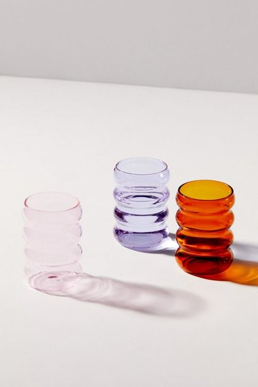 ripple glass cups in various colors